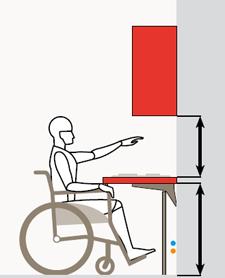 Il piano di lavoro della cucina è senza basi sottostanti e può essere collocato ad altezza variabile per agevolare i portatori di handicap