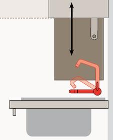 Con il lavello a canna recrinabile è possibile applicare il sistema saliscendi anche agli scolapiatti