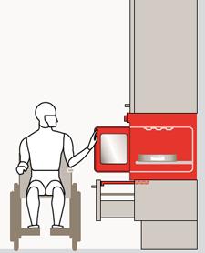 Il forno con apertura laterale, inserito in una armadio a colonna, per un'apertura facilitata da un disabile su carrozzina