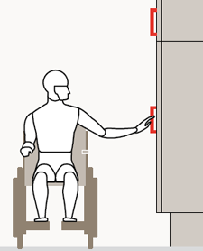 Immagine che raffigura la semplicità di apertura di un anta con maniglia ribassata per una persona su carrozzina